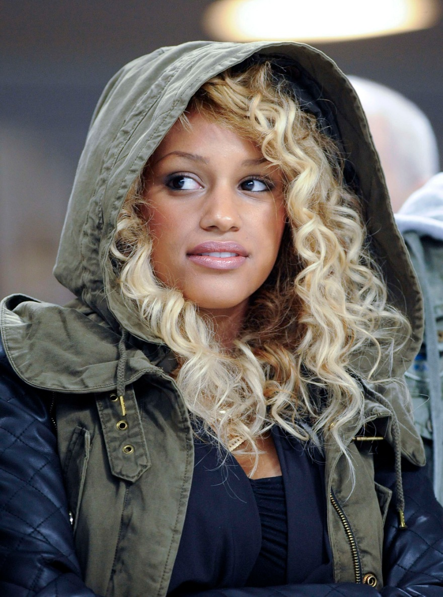 Model Fanny Robert Neguesha, girlfriend of AC Milan's Mario Balotelli, attends AC Milan's Italian Serie A soccer match against Parma in Milan